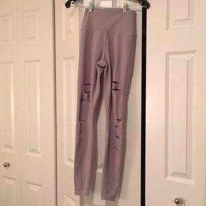 Alo gray hi waist ripped full legging sz xs 57901
